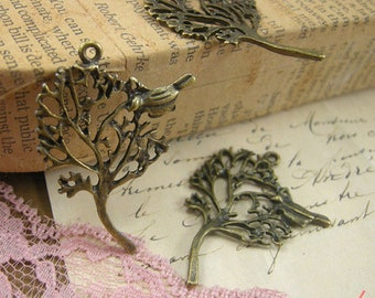 1 -Tree Charm Antique Bronze Unique Woodland Woodsy tree with Bird Charm Forrest Woods (BC124)