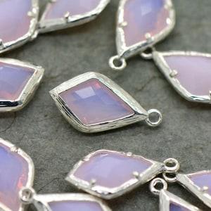 AX071 Diamond Jewel Charms TOPAZ Faceted Glass Sterling Silver Plated Setting Drop Gem Jewels 20mm Diamond Bezel Stone