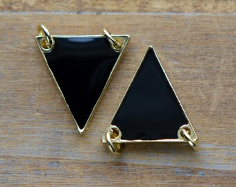 1 - Black Triangle Enamel Pendant with 24K Gold Plating Flag Connector Gemstone Jewelry Making Supplies (K008) 50DFL2