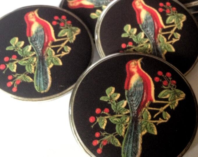 Red Bird Button, bird lover gift, vintage bird jewelry, pop jewelry, bird lover gift