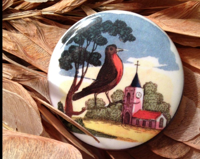 Robin red breast fridge magnet. Illustration from 1820's children's book.