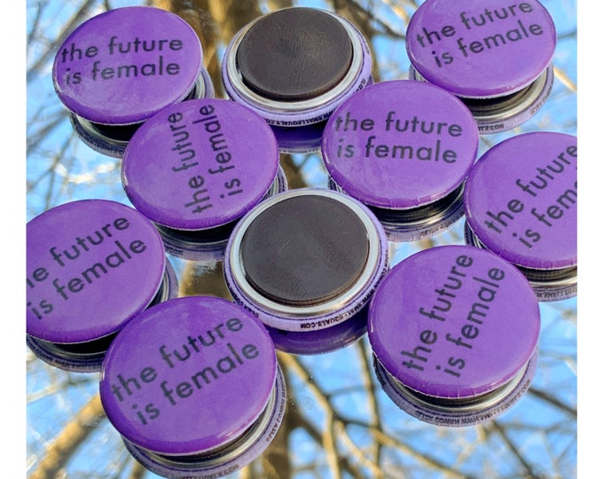 the future is female magnet. Liza Cowan design, remake of Liza Cowan 1975 button.