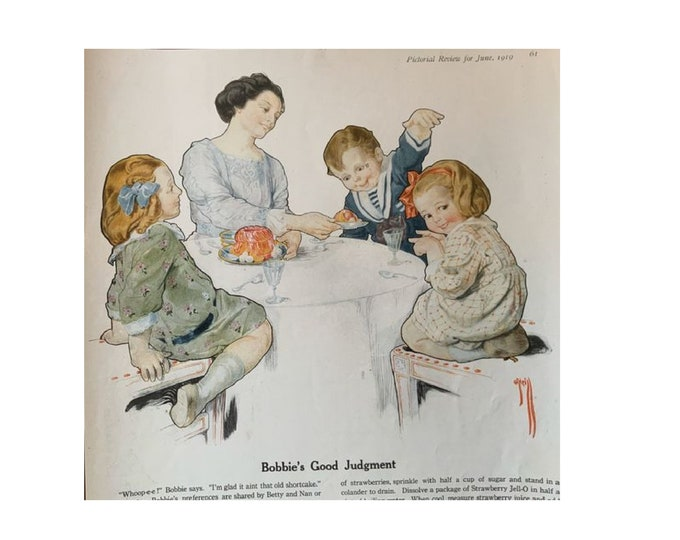 Large Double sided ad page, 1919 Pictorial Review, 10 x 15 inches, Jell-O, Bradleys Knit Wear, Rose O'Neil illustration