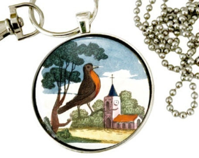 robin redbreast pendant and keychain. Great gift for bird lovers. Free shipping to US.