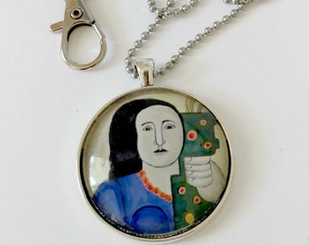 modern art pendant, portrait pendant, modern art keychain, Based on painting by Fernand Leger. Free ship in US