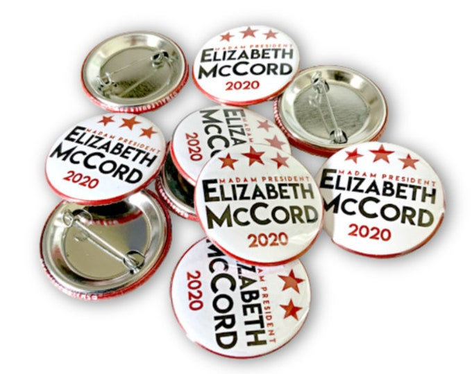 Madam Secretary, Madam President, pinback button, Elizabeth McCord, female TV icon, woman president, tea leoni, women politicians