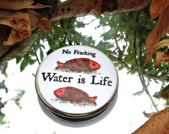 Water Is Life Button, No Fracking,  climate justice, ecology, fish button, water button,