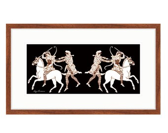 "Amazons On The Move, framed print of Liza Cowan artwork. 16"" x 26"" Ready to hang. Free shipping in US."