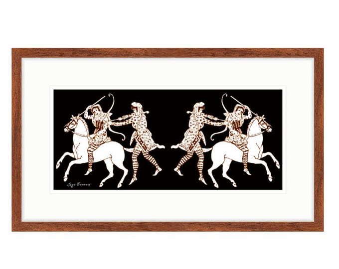 Amazon women on horses,  framed digital print by Liza Cowan based on ancient Greek vase paintings.