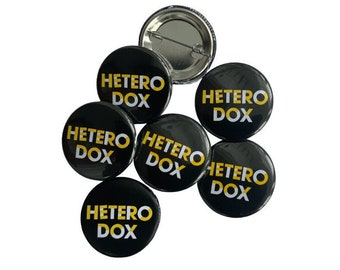 Heterodox button, philosophy button, gift for free thinker, gift for philosophers, going against the grain gift, gift for creative friend