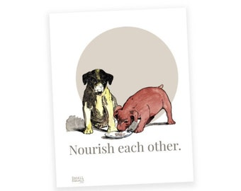 "Printable digital download, vintage puppy dogs, ""Nourish Each Other"", dogs sharing food. Print large or small."