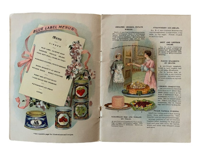 1908 recipe booklet, Curtice Brothers Co, chromolithograph, vintage picnic, vintage car, chef gift, food preservation, food history