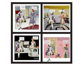 4x4 small prints, I Want To Wear Ladies Clothes, sewing patterns, vintage clothing, vermont art, sewist gift, antique clothing, collage