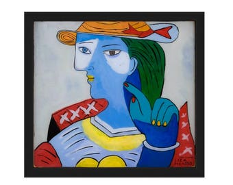 Liza Picasso portrait of Marie Therese. Framed print in two sizes. Free shipping.