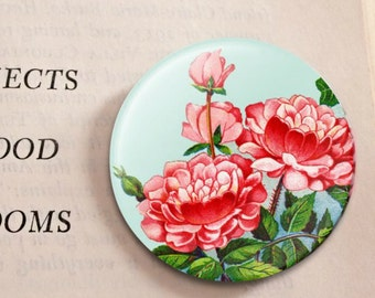 ROSE button from vintage seed catalog. Fun pop jewelry for any occasion.
