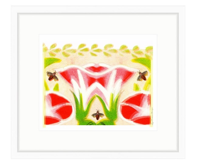 Bees In The Garden, Colorful Floral Famed Print of digital collage by Liza Cowan.. 24.21 x 21.13 inches framed. Free Shipping