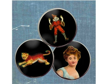 Vintage matchbox label set of three buttons: tiger, victorian beauty, vintage clown button, vintage embellishment, costume jewelry,