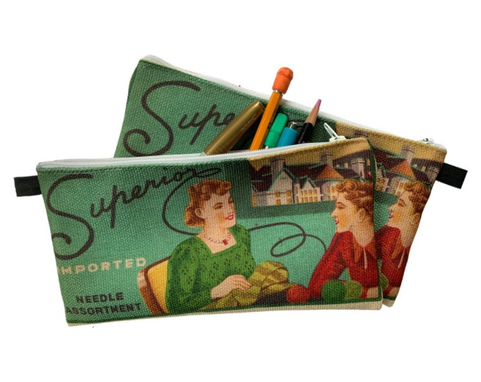 Pencil case, super needle pack, vintage sewing image, sewing case, hold all, carry all, catch all, organizing pouch, pen pouch, seamstress,
