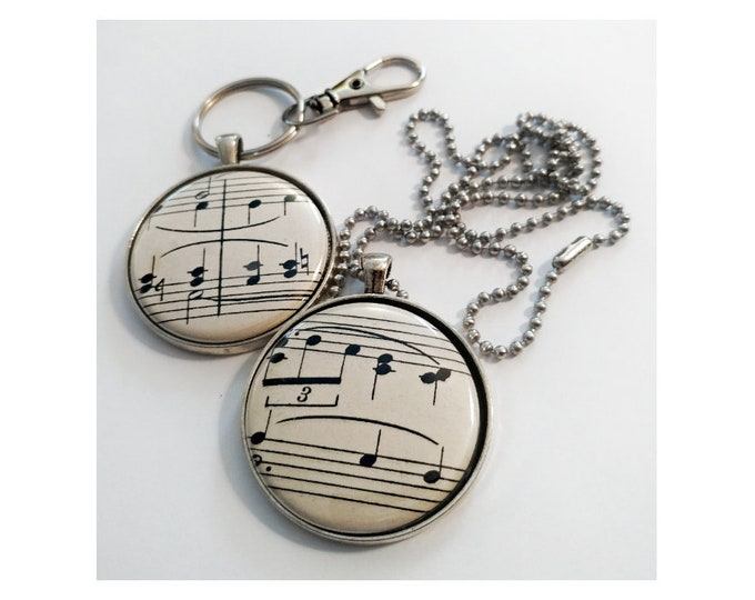 Musical notes pendant and keychain, made with original vintage sheet music. NO 2 ALIKE.  Free shipping in US