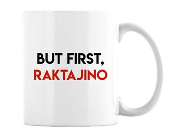11 oz.Star Trek Mug featuring Raktajino, Klingon favorite morning brew, like coffee but stronger, Star Fleet officers choose this beverage,