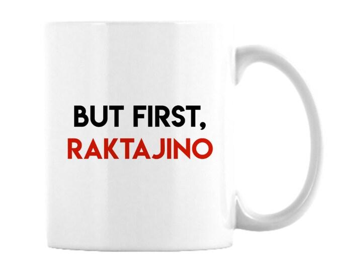 11 oz.Star Trek Mug featuring Raktajino, Klingon favorite morning brew, like coffee but stronger, Star Fleet officers choose this beverage,
