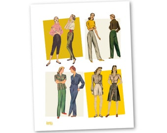 Sewing pattern collage, printable wall art.  1940s sewing, mid century clothing, art for sewing room, gift for sewer, ww2 era clothes