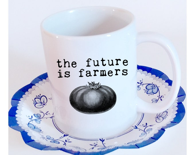 The Future Is Farmers. Vintage black and white tomato on 11 oz. ceramic cup. Black or White handle. Free Shipping