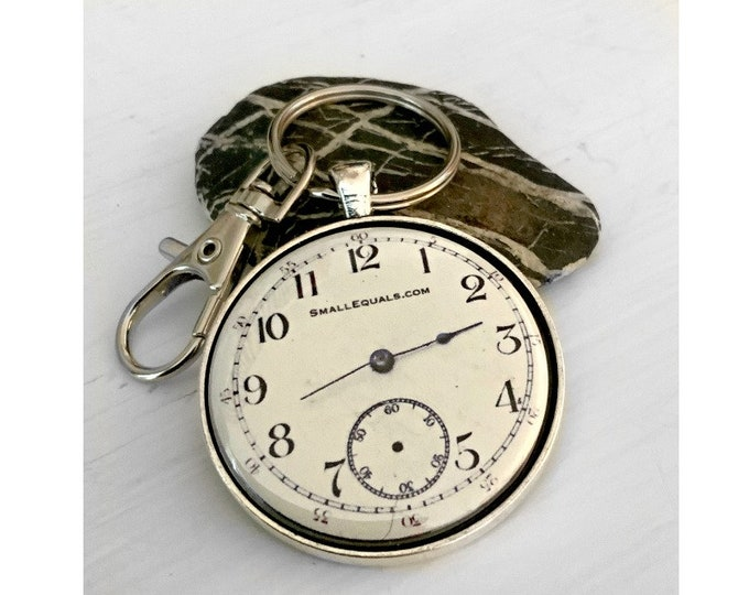 pocket watch keychain with fool the eye watch face. Great gift for watch lovers. Free Shipping to US.