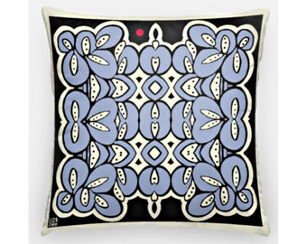 Blue white black throw pillow case, indoor outdoor, hidden zipper, abstract design, modern cushion cover,