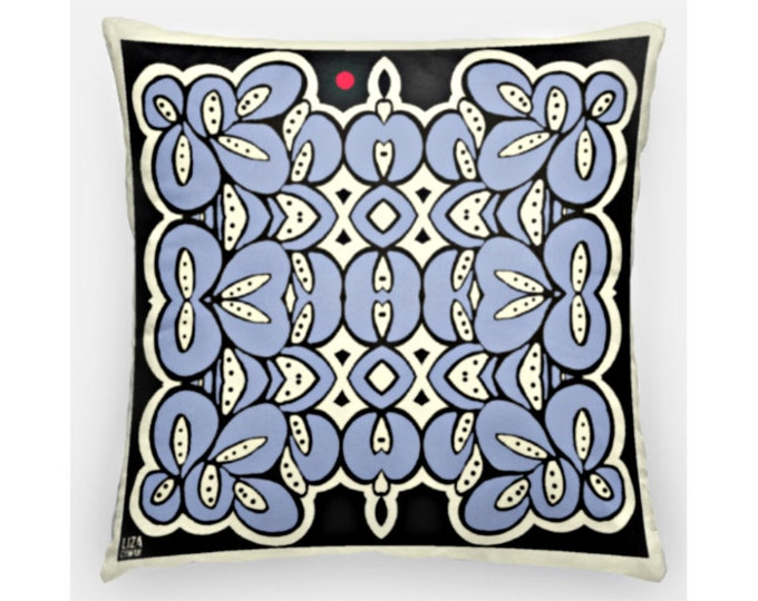 Blue, white and black throw pillow case, 16 inch square, indoor outdoor, washable, hidden zipper closure. Free Shipping