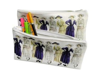 Fashion Lady pencil case, zippered carryall, canvas pouch, cosmetic bag, organizing bag, Edwardian fashion plates,