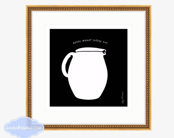 Russel Wright Coffeepot, digital downloadable black and white drawing by Liza Cowan.