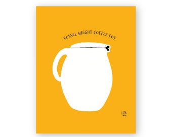 Russel Wright coffee pot, digital downloadable print, kitchen art, midcentury modern, mcm design, art for dining room