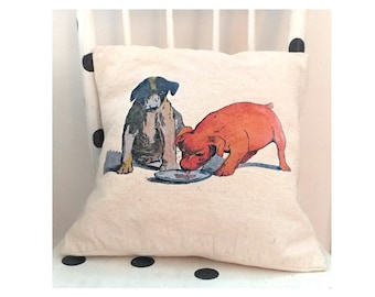 Vintage puppy dogs, decorative pillow case, 100% cotton canvas, washable for extra softness. Two sizes, dog lover gift,