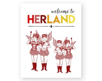 Printable wall art, Welcome To Herland, Women's Land, She Shed Decor, Ladies Room, Winged Girls, Easy Home Decor, Girl Power, Her Land