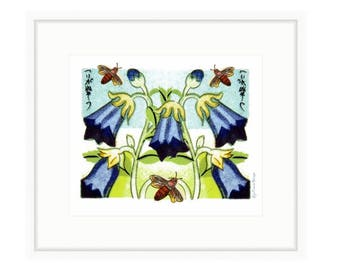 Harebell and Bees, framed print of digital collage by Liza Cowan. Framed size 24.25 x 21.42 Ready to hang. FREE SHIPPING
