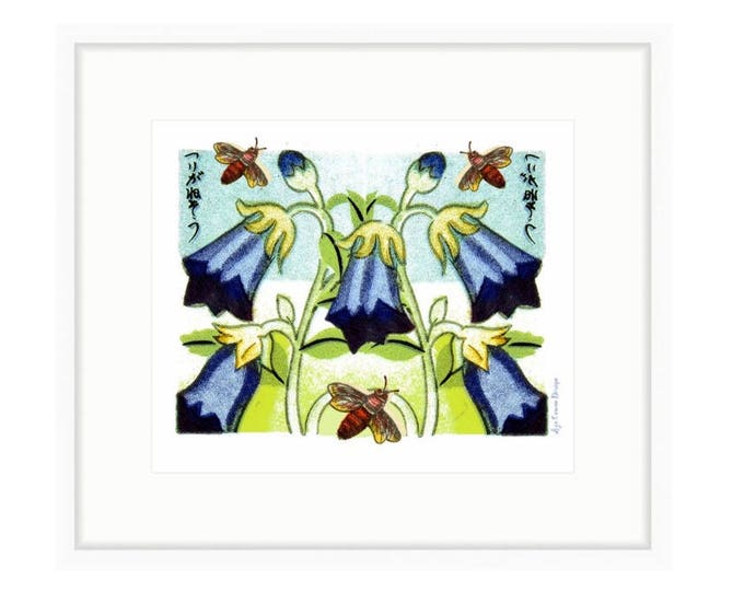 Harebell and Bees, Framed floral art print, vintage images of flower and bees, digital collage by Liza Cowan