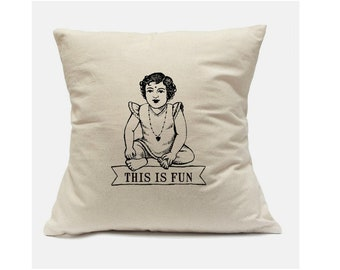 This is fun. 100% cotton, square canvas decorative pillow case, Two sizes. Free shipping to continental US.