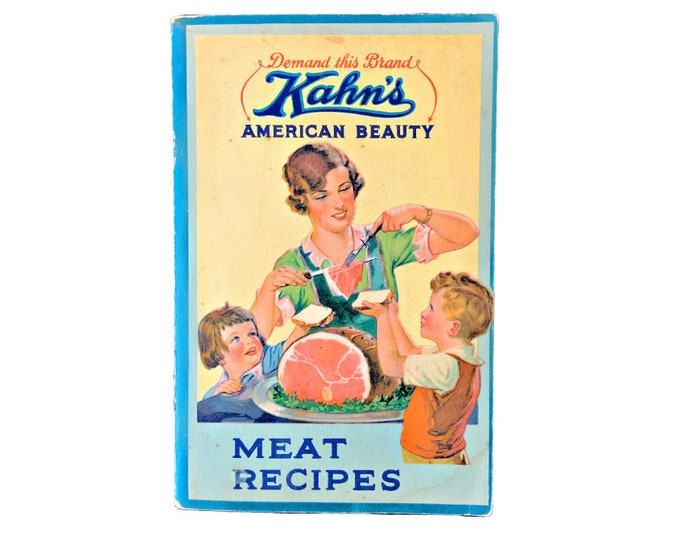 Recipe Booklet, Vintage Food, Meats and Pastries, Old Fashioned Cookbook, Culinary, Color Illustrations, Chef gift, Depression Era,