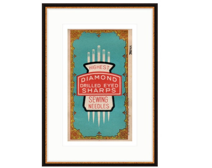 Diamond Sharp Needle pack, Framed digital enlargement of mid century package.