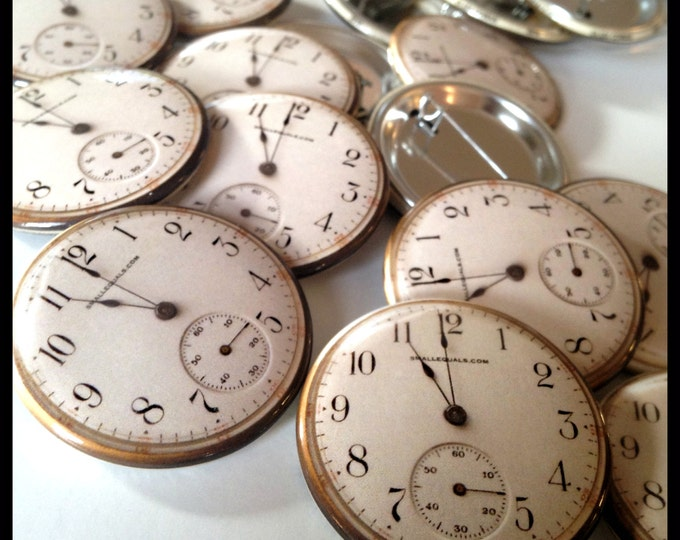 Pocket watch button,  gold watch, steampunk accessory, elegant watch face, fake watch, trompe l'oeil, watch lover gift