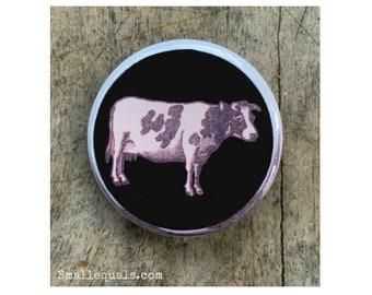 cow button, animal button, matchbox label, vintage cow, black and white cow, decorative button, pinback button