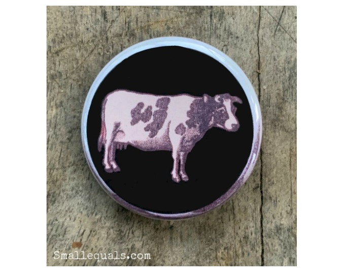 cow button, animal button, matchbox label, vintage cow, black and white cow, decorative button, pinback button