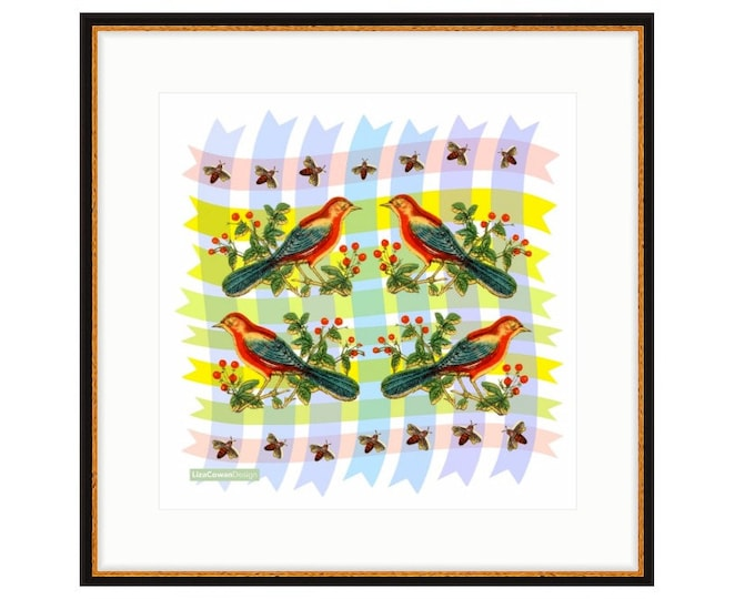 Red Bird Quartet, framed digital print by Liza Cowan featuring vintage birds on geometric background.