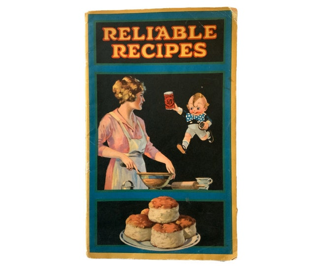 Calumet Reliable Recipes, 1920's pamphlet, baking powder, cooking booklet, vintage food ad , color illustrations, chef gift, ephemera gift,