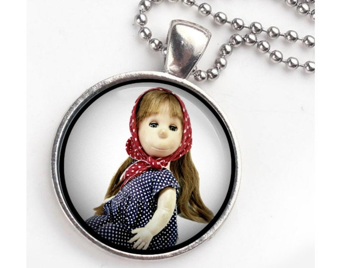 "Poor pitiful pearl, keychain necklace combo, classic 1950's doll, 24"" ball chain,  vintage doll portrait, favorite doll"