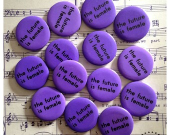 Vintage Original 1974 The Future Is Female Button, Rare collector's pin - 1970s feminist collectible - Origins of The Future Is Female