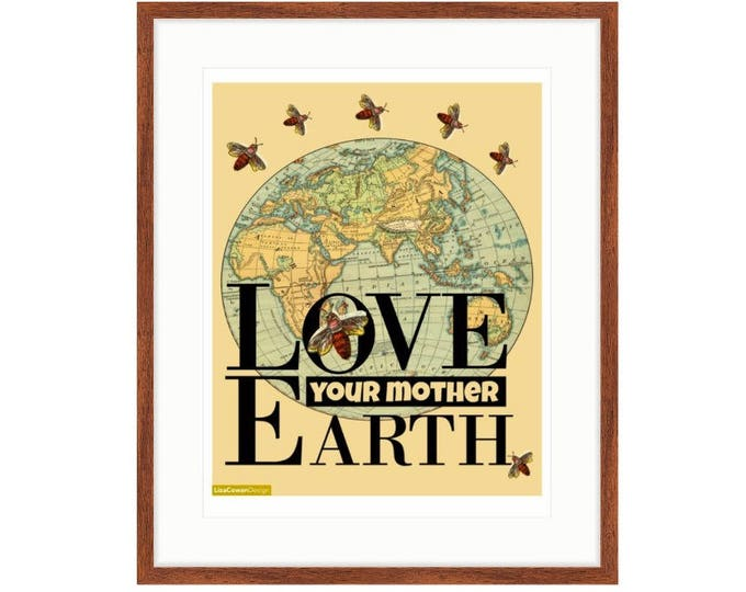 Love Your Mother Earth - printed framed digital collage by LIza Cowan. Features ancient map and vintage bees.