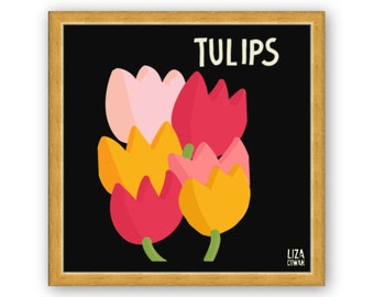 Tulips digital print by Liza Cowan. Framed in gold or white. Free Shipping to US.
