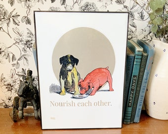 """Printable digital download, vintage puppy dogs, """"Nourish Each Other"""", dogs sharing food. Print large or small."""